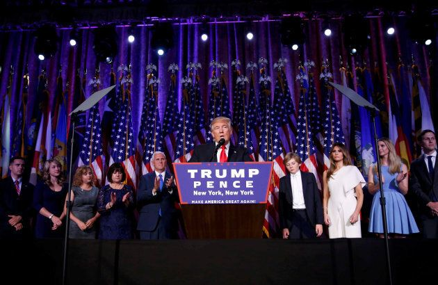 Donald Trump speaks at his election night rally in Manhattan on Nov. 9,