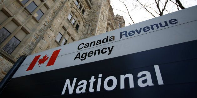 A sign is pictured in front of the Canada Revenue Agency (CRA) national headquarters in Ottawa, Ont.,...