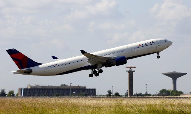 A Delta Air Lines Airbus A330 aircraft takes off at the Charles de Gaulle airport in Roissy, France on...
