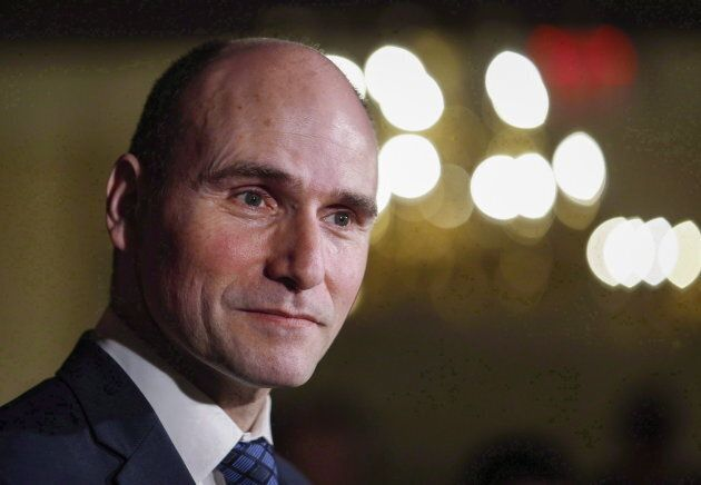 Jean-Yves Duclos speaks to reporters at a Liberal cabinet retreat in Calgary, Alta., on Jan. 24,