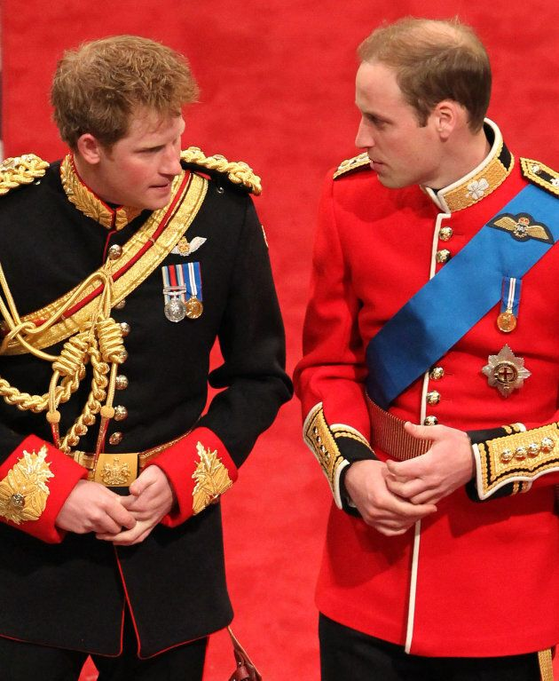 Prince Harry and Prince William at the royal wedding.