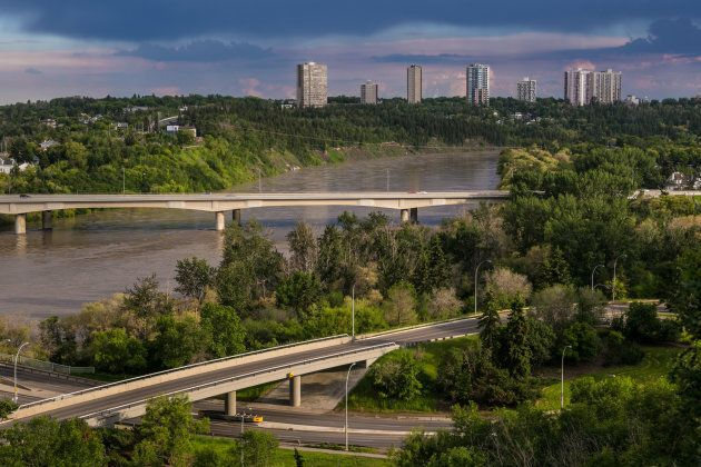 The Saskatchewan River viewed from a downtown bluff in Edmonton, Alta.