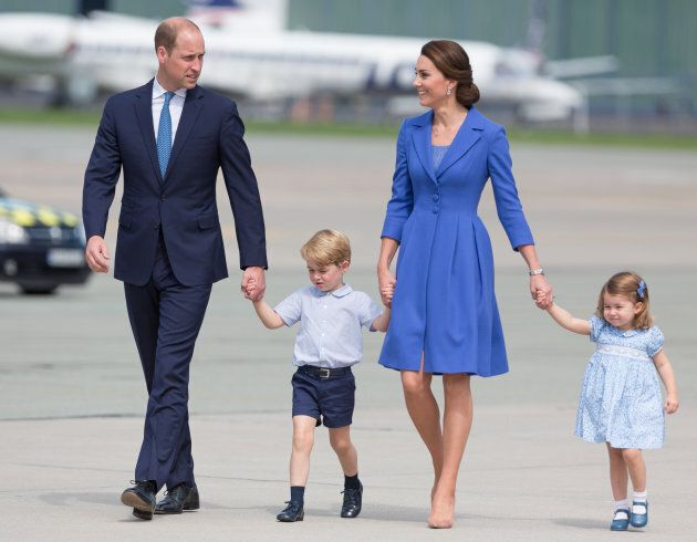 The duke and duchess with their children in Warsaw, Poland on July 19,