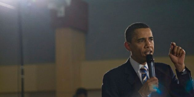 Barack Obama speaking at a rally in Keene, New Hampshire on January 6, 2008