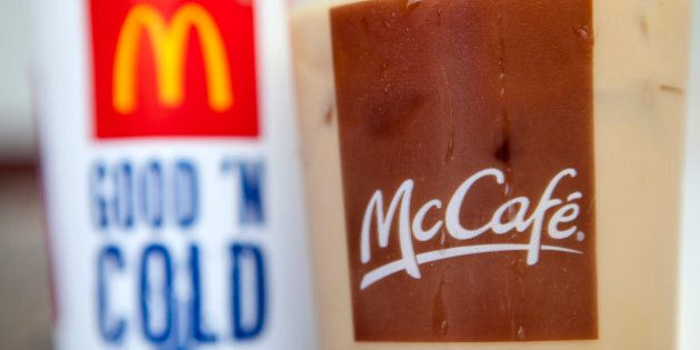 A McDonald's Corp. iced coffee is arranged for a photograph in Washington, D.C., U.S., on Thursday, July...