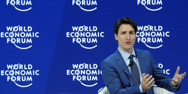 Prime Minister Justin Trudeau speaks during the World Economic Forum (WEF) annual meeting in Davos, Switzerland Jan. 23, 2018