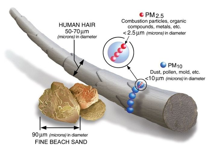 The scientific term PM2.5 describes particles less than 2.5 microns in diameter measured in our air. By comparison, a human hair is between 50 and 70 microns in diameter.