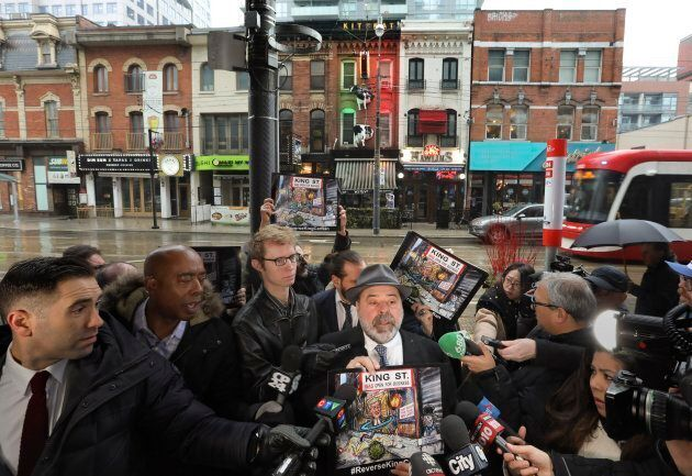 Al Carbone, the owner of a business on King Street, at the January 22 press conference announcing a social...