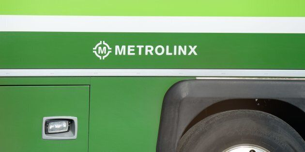 The Metrolinx logo is seen on the side of a GO Transit bus in Hamilton, Ont. on May 4,