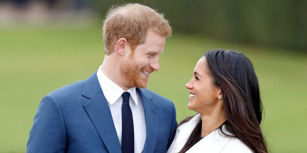 Prince Harry and Meghan Markle attend an official photocall to announce their engagement at Kensington Palace on Nov. 27, 2017.