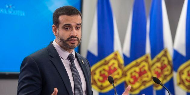 Nova Scotia Education Minister Zach Churchill speaks during a press conference in Halifax on Jan. 24,...