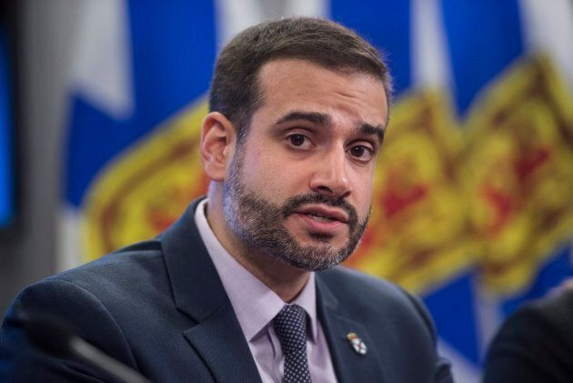 Nova Scotia Education Minister Zach Churchill speaks during a press conference in Halifax on Jan. 24,