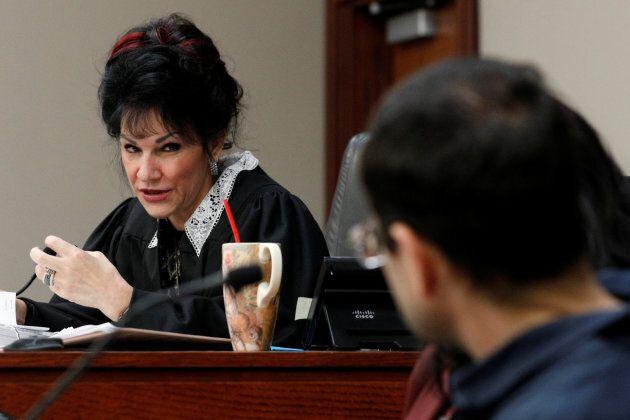 Circuit Court Judge Rosemarie Aquilina addresses Larry Nassar, a former team USA Gymnastics doctor who...