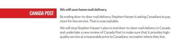 The pledge on Canada Post made in the Liberals' 2015 election