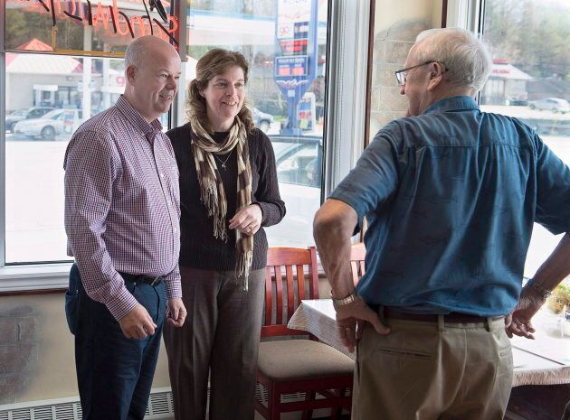 Jamie Baillie makes a campaign stop in Lower Sackville, N.S. on May 8,