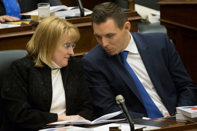 Patrick Brown (right) speaks with Sylvia Jones, deputy leader of PC