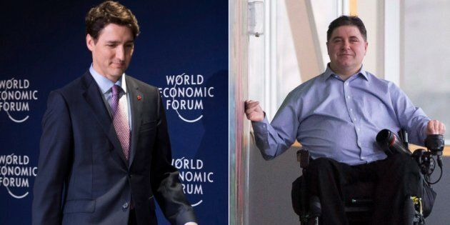 Prime Minister Justin Trudeau on the left in Davos, Switzerland on Jan. 25, 2018. Minister of Sport and...