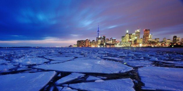 Toronto harbour in winter with ice