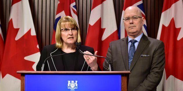 Party deputy leaders Ontario MPP Sylvia Jones and MPP Steve Clark hold a news conference at Legislative...