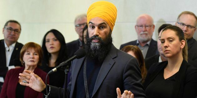 NDP Leader Jagmeet Singh speaks at an availability following caucus meetings in Ottawa on Jan. 25,