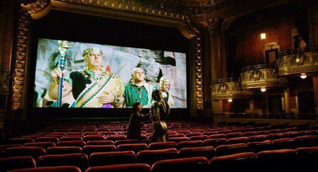 Actress Sally Hawkins performs with actor Doug Jones in Toronto's Elgin Theatre.