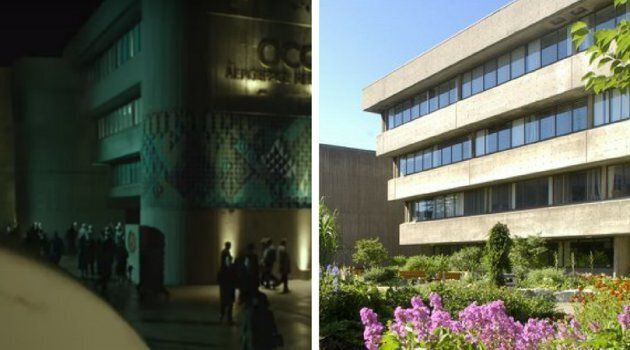 """University of Toronto's Andrew Building at the school's Scarborough campus is seen in """"The Shape of Water"""" trailer on the left, and on a normal day, on the right."""