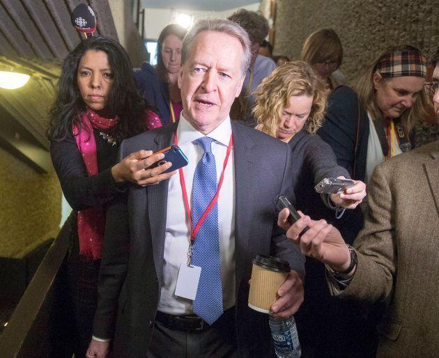 Canada's chief NAFTA negotiator Steve Verheul speaks to the media as he leaves for the lunch break at...