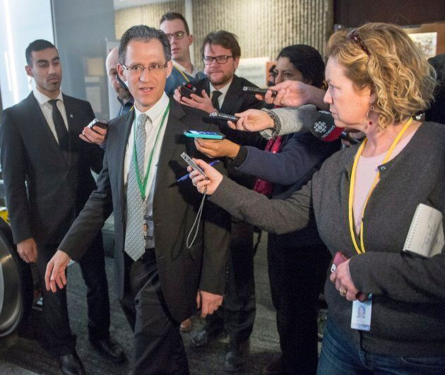 Mexico's chief NAFTA negotiator Kenneth Smith Ramos speaks with reporters as he returns from the lunch...