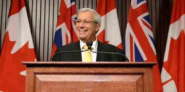 Ontario PC party interim leader Vic Fedeli speaks after a caucus meeting at Queen's Park in Toronto on...