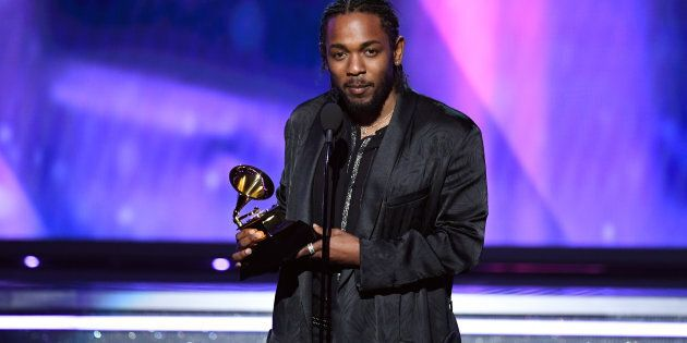 Kendrick Lamar accepts Best Rap Album for 'DAMN.' onstage during the 60th Annual GRAMMY Awards at Madison Square Garden on Jan. 28.
