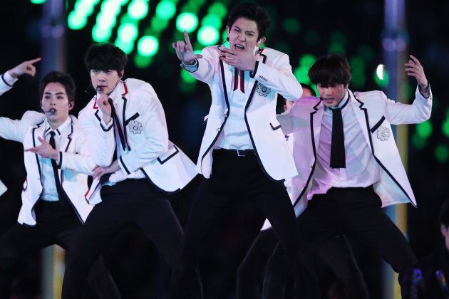 K-pop band EXO performs during the Closing Ceremony of the PyeongChang 2018 Winter Games in Pyeongchang-gun, South Korea on Sunday.