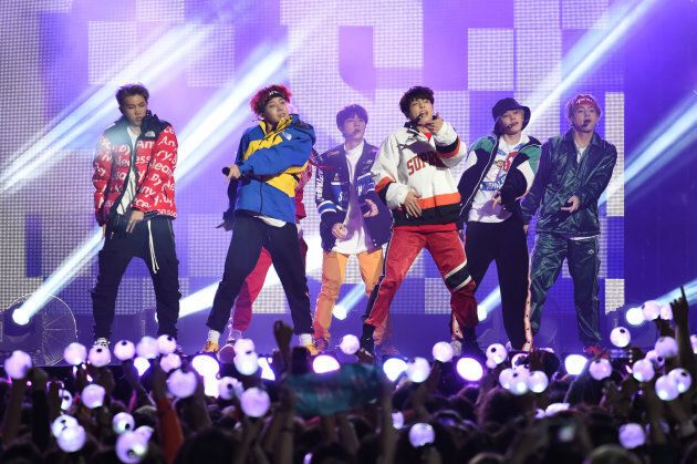 BTS are perform on Jimmy Kimmel Live on November 15, 2017 in Los Angeles,