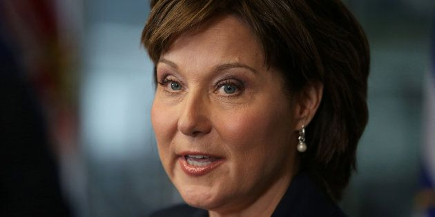 Christy Clark speaks to the media in Vancouver on May 30,