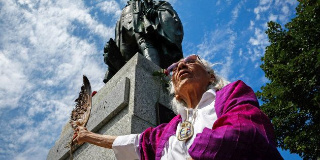 Isabelle Knockwood, an elder of Indian Brook, calls for the removal of the statue of Halifax founder Edward Cornwallis, who issued a bounty on the heads of indigenous people, in Halifax on July 15, 2017.