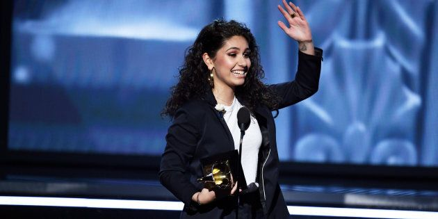 Alessia Cara accepts the Best New Artist award onstage during the 60th Annual GRAMMY Awards at Madison Square Garden on Sunday in New York City.