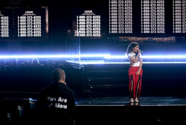 Logic (L) and Alessia Cara perform at the Grammy Awards.