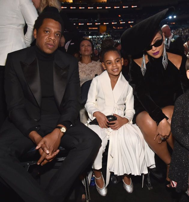 Jay Z, Blue Ivy Carter and Beyonce at the 60th Annual Grammy Awards on Jan. 28, in