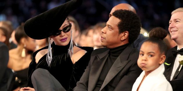 Beyonce, Jay-Z and Blue Ivy Carter attend the 60th Annual Grammy Awards at Madison Square Garden on Jan....