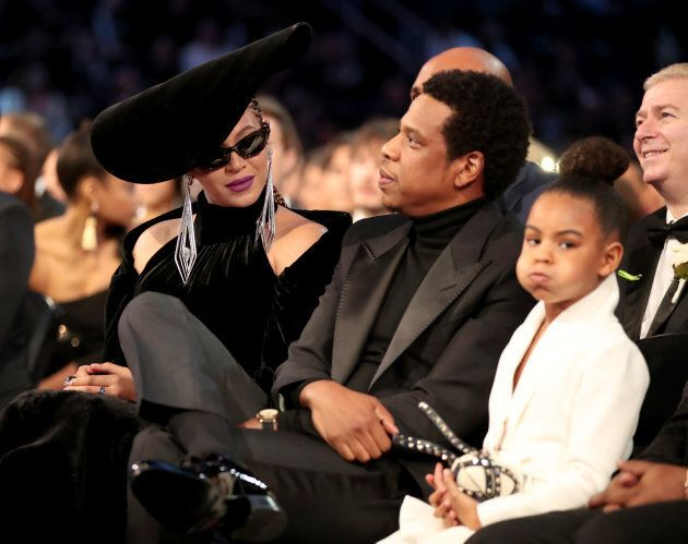 Beyonce, Jay-Z and Blue Ivy Carter at the 2018 Grammy Awards.