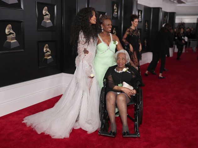 SZA with her mother and grandmother at the 60th Annual Grammy Awards.