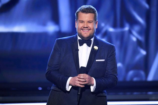 Host James Corden speaks onstage during the 60th Annual Grammy Awards.