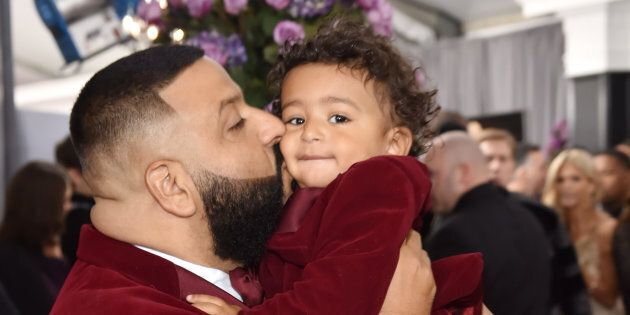 DJ Khaled and son Asahd Tuck Khaled attend the 60th Annual Grammy Awards on Jan.