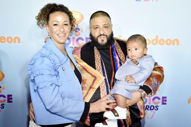 DJ Khaled with Nicole Tuck and Asahd Tuck Khaled at Nickelodeon's 2017 Kids' Choice Awards.