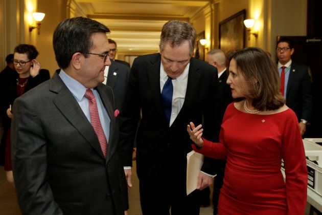 Foreign Affairs Minister Chrystia Freeland talks to U.S. Trade Rep Robert Lighthizer and Mexican Secretary...