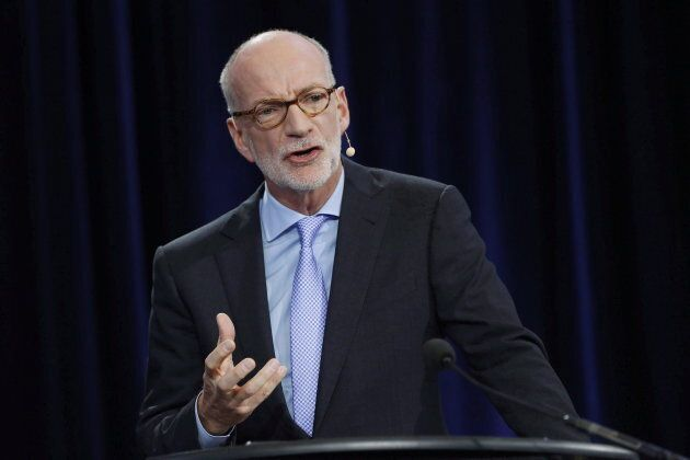 Hubert Lacroix, President and CEO of CBC/Radio Canada, speaks at the broadcaster's annual public meeting at the University of Winnipeg in Winnipeg, Tues. Sept. 29, 2015. Lacroix says the CBC supports efforts to halt piracy in Canada.