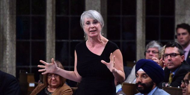 Patty Hajdu, Minister of Employment, Workforce Development and Labour stands during question period in...