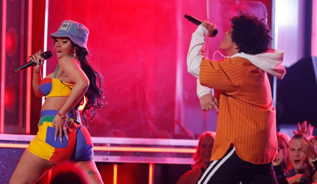 Cardi B and Bruno Mars perform at the 2018 Grammy Awards.