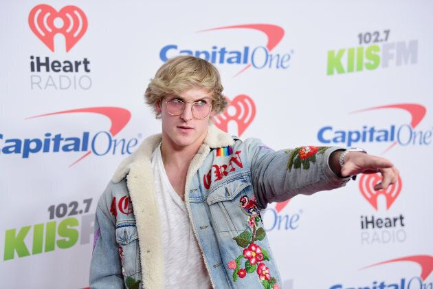 Logan Paul poses in the press