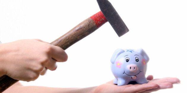 piggy bank a young woman