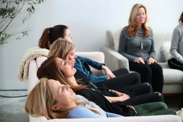 Group meditation at the In goop Health Summit on Jan. 27, in New York